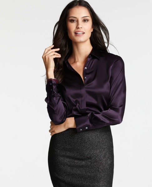 Petite silk legacy button down blouse wine secretary for Silk button down shirt