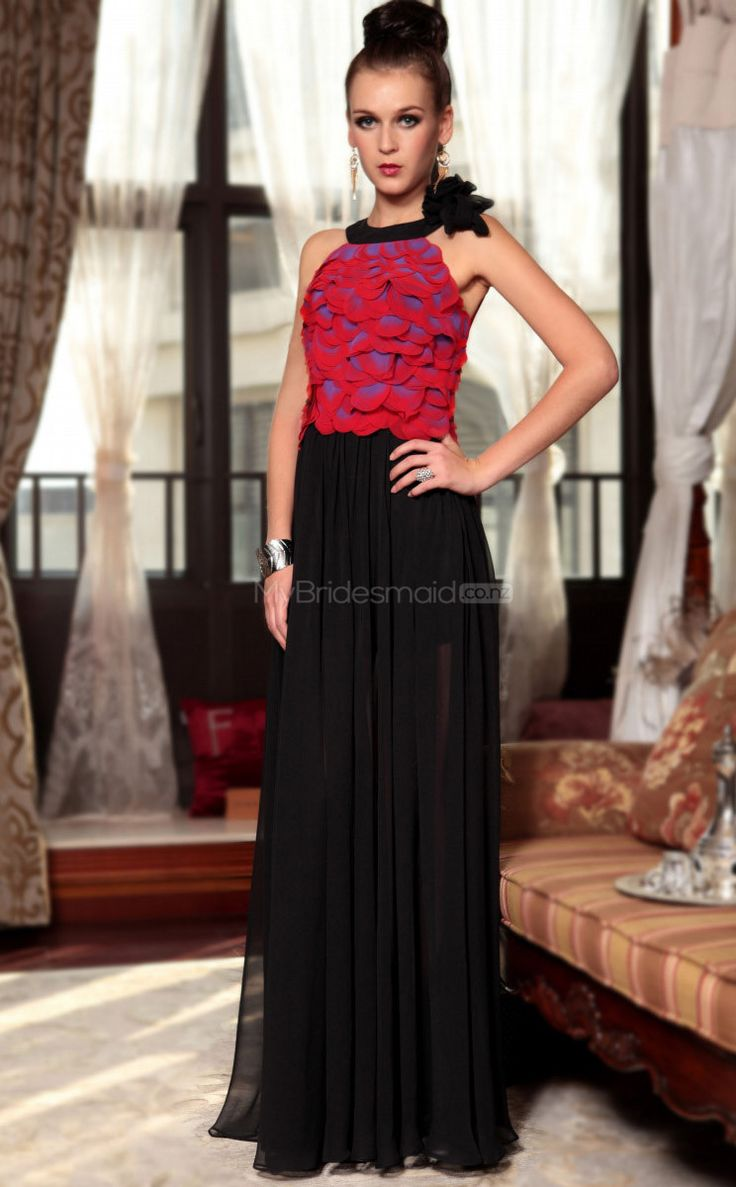Long Red Prom Dress with Pleats and Flowers