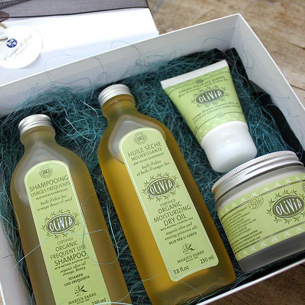 Caja regalo Olivia La colección más completa de productos de Marius Fabre de la gama Olivia. A base de aceite de oliva, productos con certificación ECOCERT.