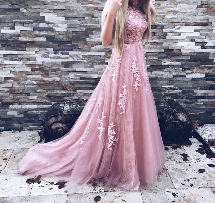 A-Line Crew Court Train Backless Pink Tulle Prom Dress with Appliques from simpledress