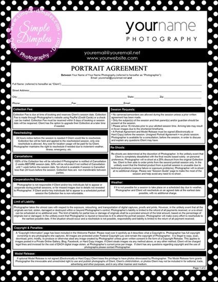 Freebie Printable Portrait Agreement Contract, Model Release for Photographers