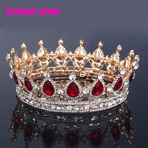 Huge European Royal Hair Crown Red/Blue Rhinestone Imitation Ruby Tiara Super Large Quinceanera Crown Wedding hair accessories