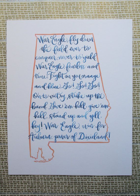 Auburn fight song print by rileywritesscout on Etsy