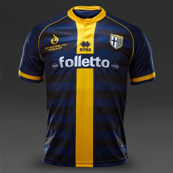 Maglie da Calcio Errea - Maglia Manica Corta Errea Parma FC 14/15 Seconda Divisa - Abbigliamento Ufficiale - Blu-Giallo - SM5Q6C0192990PRF