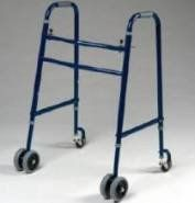 """Rolling Walker - Extra Wide, Heavy Duty 650 lb. Weight Capacity Double Button Folding Walker has dual 5"""" front wheels and swivel caster back wheels for added stability and safety and only weights 14 lbs. This is a medical walker that fits over the toilet and folds for easy storage in trunk, back seat or closet."""