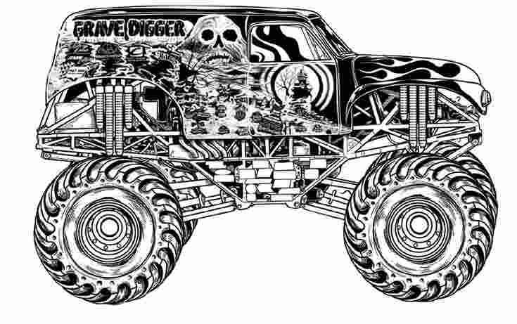 Coloring Book Grave Digger Monster Truck Coloring Pages More