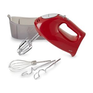 "Hamilton Beach Brands Inc. Hand Mixer:  Fabricated out of coated material, the Hamilton Beach Brands Inc. Hand Mixer is a durable device that will keep your bowls protected and save your money on replacements. There is also a ""bowl rest"" feature within the mixer that reduces the amount of mess created by the constant whipping by changing the place of mixing to the edge of the container."
