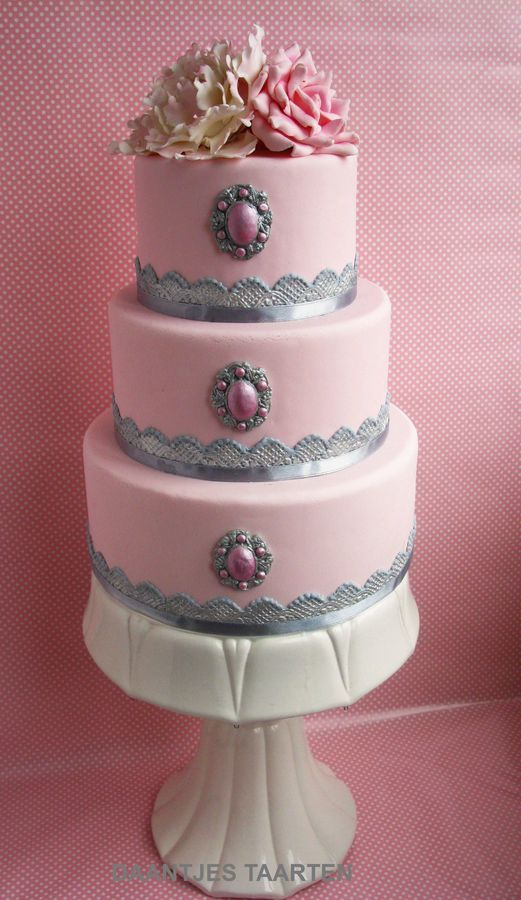 Pink And Silver Wedding Cakes Pinterest