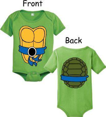 Teenage Mutant Ninja Turtles Green Costume Infant Baby Onesie.