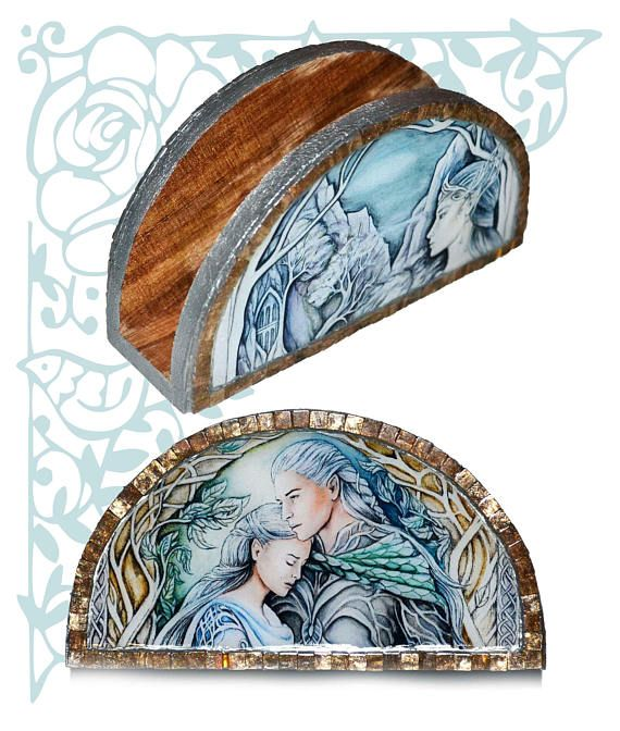 Elven napkin holder fantasy kitchen storage home wooden decor