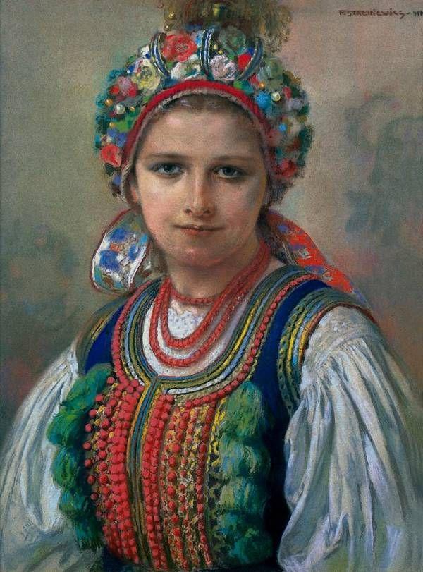 Bride: folk costume from Kraków,Poland; vintage postcard. Painting by Piotr Stachiewicz.