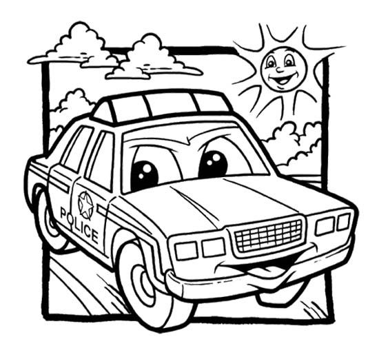 Free Colouring Pages Lamborghini : Police car coloring pages for kids enjoy
