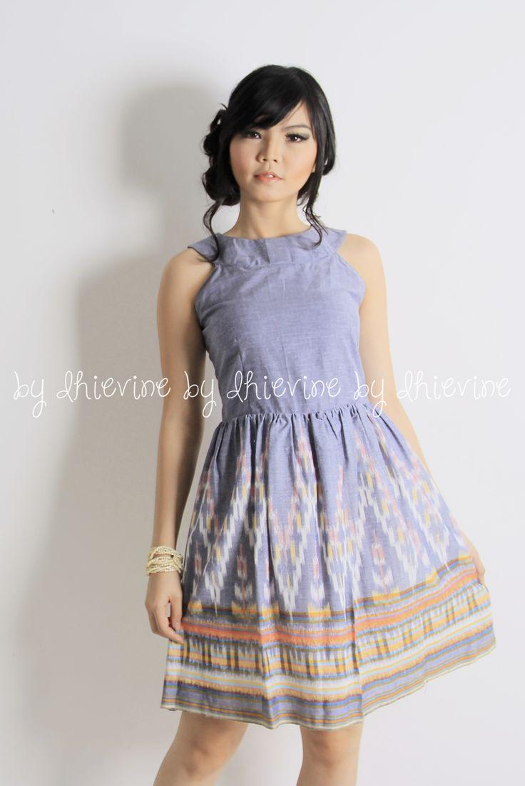 Ikat dress | Kebaya Dress | Halter neck dress |Sasmita Ikat Grey Dress | DhieVine | Redefine You