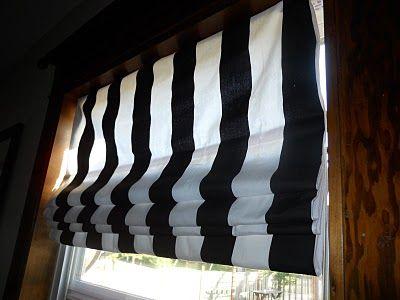 No Sew Black White Stripe Roman Shades Decor Eye Candy