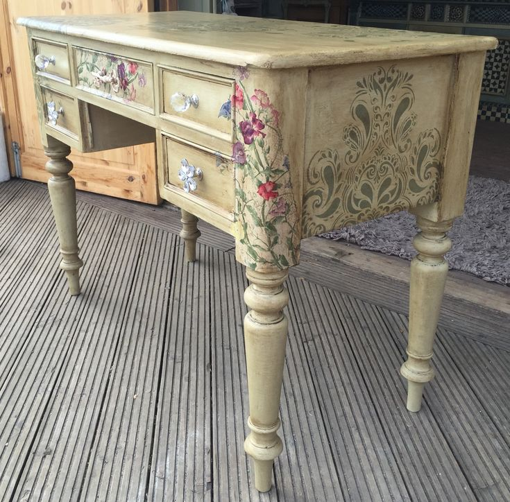 All finished and off to its new home as a writing desk Painted in Annie Sloan Versailles, stencilling in Everlong Olive Branch, sweet pea decoupage, finished with clear and dark wax.