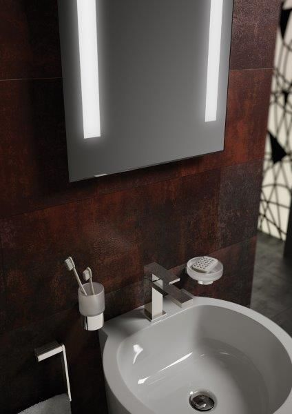 Line Mist-free wall mirror with sensor light (W 500mm, H 700mm), Infinity Frosted glass tumbler and holder, Infinity Frosted glass soap dish and holder and Notion Mono basin mixer by VADO