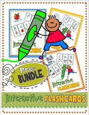 BUNDLE: Huge Savings!  Complete set of CVC Interactive Segmenting Flashcards (AEIOU)