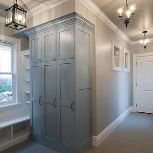 Mudroom Cabinets, Transitional, laundry room, Benjamin Moore Serenata, Cameo Homes