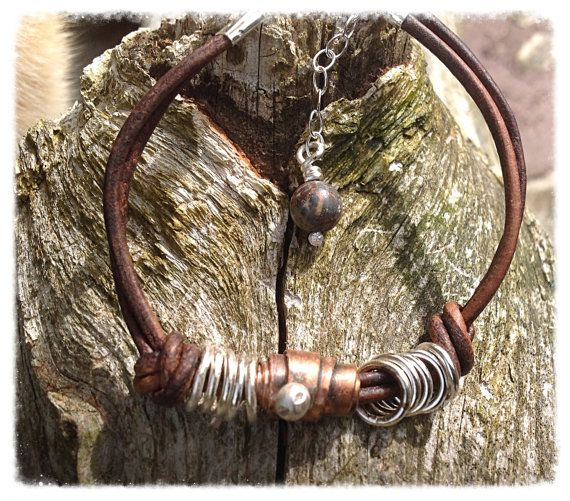 Sterling silver recycled copper and leather by HENjewellery, €28.00