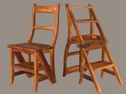 Leiterstuhl Teakholz natur, geölt als Stuhl und als Leiter