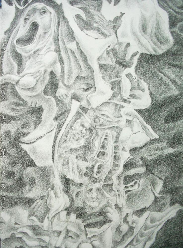 745/2 The Building of oppress Drawing pencil by Sittichai Pijitam (cycnas)