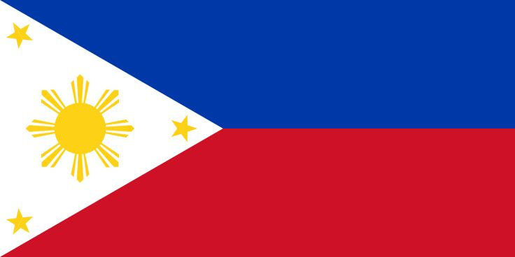 The Philippines flag was officially adopted on May 19, 1898.     The white triangle is symbolic of peace, red symbolizes bravery and blue represents patriotism. The three gold stars and sun represent the three main divisions of the country - Luzon, Mindanao and Visayas.