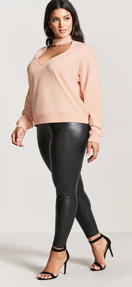 Plus Size Cutout Mock Neck Sweater