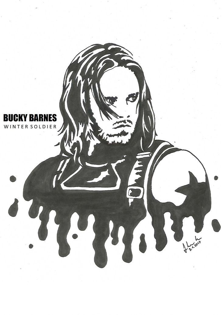 #bucky #barnes #winter #soldier #sebastian #stan #drawing #blackandwhite #marvel #avengers