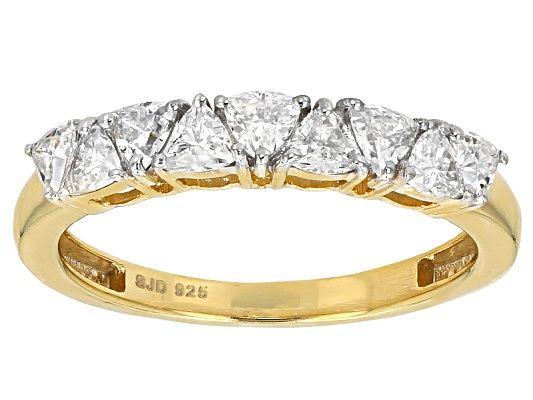 Moissanite Fire®  81ctw Dew Trillion Cut 14K Yellow Gold