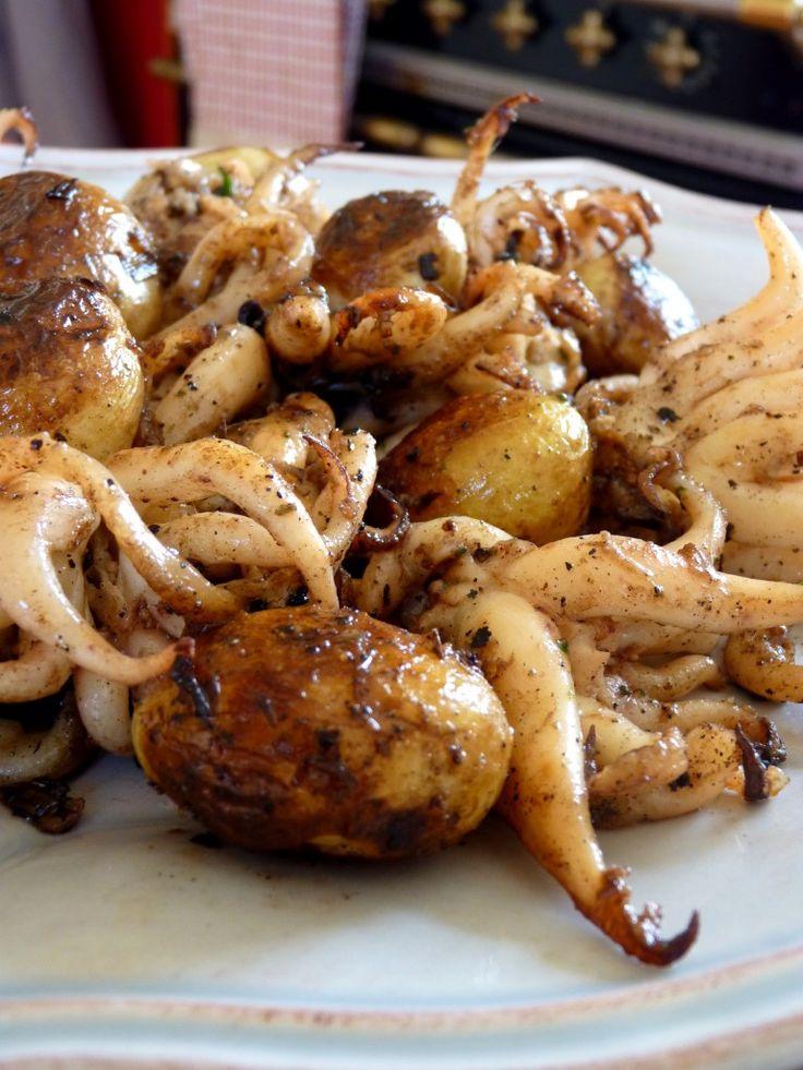 Têtes de seiches au beurre de gingembre et pommes de terre primeurs de Noirmoutier