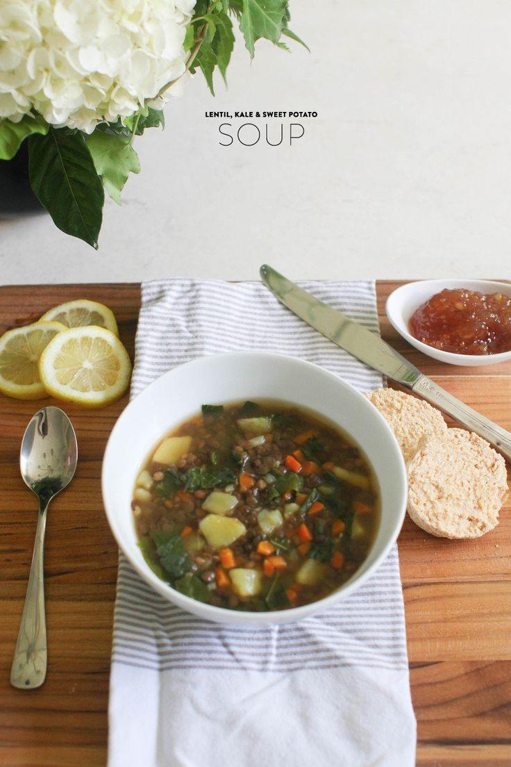 Summer Lentil, Kale & Sweet Potato Soup  Read more - http://www.stylemepretty.com/living/2013/07/17/summer-lentil-kale-sweet-potato-soup/