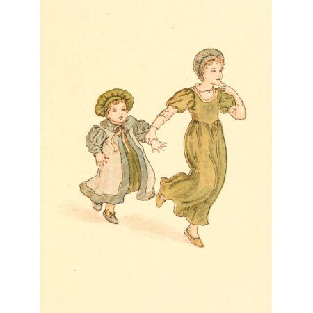Posterazzi The Pied Piper of Hamelin c1880 Tiny feet pattering Canvas Art - Kate Greenaway (24 x 36)