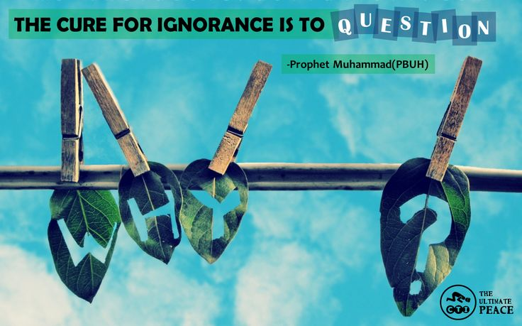 "THE CURE FOR IGNORANCE IS TO  ""QUESTION"" -Prophet Muhammad(PBUH)"