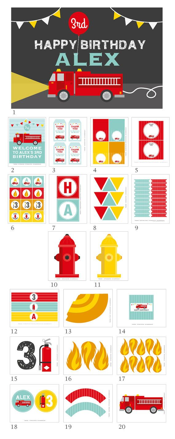 Firetruck Party Firetruck Birthday Fireman Party Boy by maydetails                                                                                                                                                                                 Más