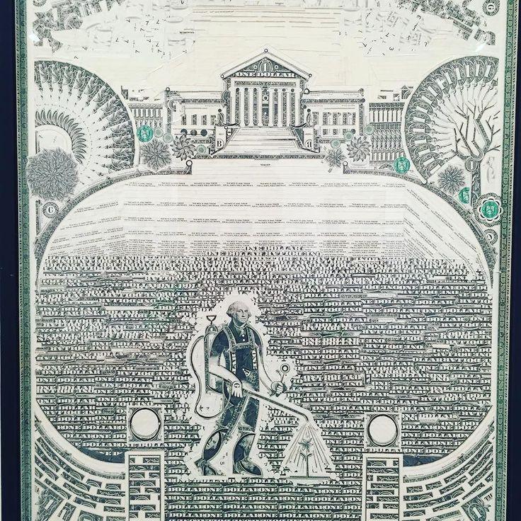 Mark Wagnerの作品この画像だと全っ然伝わらないかもですが実は全て本物の1ドル札を切り貼りして作られています初代大統領ジョージワシントンがなんともコミカルに使われていて最高に面白いです風刺でもあるのではないかと #1日1アート #everydayart #art #ny #PavelZoubokGallery #Chelsea #$1 #GeorgeWashington #money