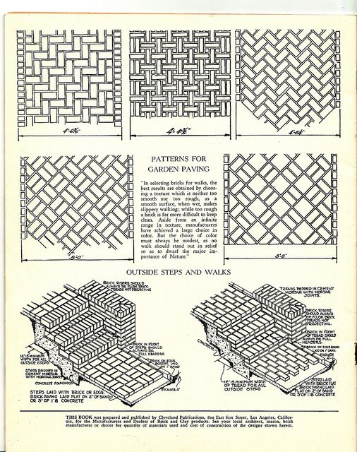 "I have a weakness for diagrams of things I would never dream of doing or building!  This was salvaged from an old promotional booklet published by Cleveland Publications, Los Angeles, CA, 1939 for the ""Manufactuerers and Dealers  Brick & Clay Products."""