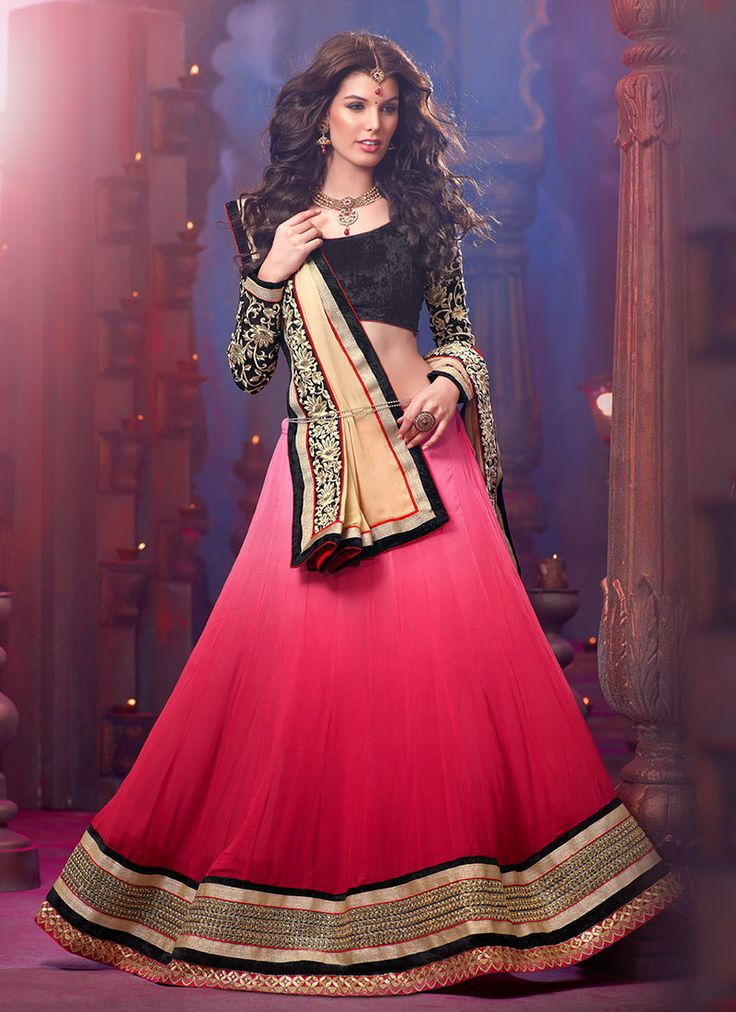 Pleasing Georgette A Line Lehenga Choli- garba?