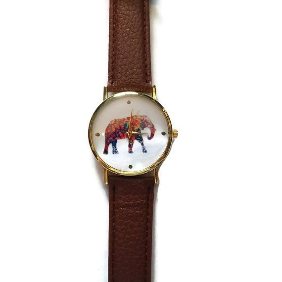 Colorful Elephant Leather Watch Gift for by BriAndAshStore on Etsy