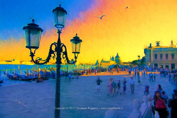 Picture of Venice (Italy) manipulated and printed on High quality Canvas (or Fine Art Paper) with Ultrachrome HDR pigmented inks.  #venice #venezia #canal grande #grand canal #italy #sunset #san marco #s.marco