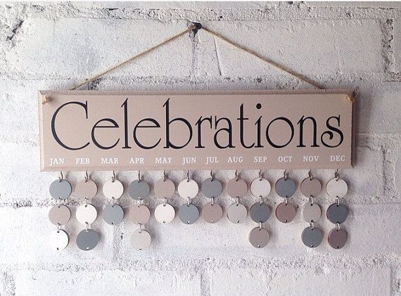 Family calendar Celebrations board wooden by AceSentimentalGifts