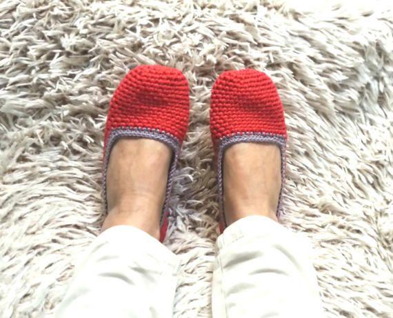 Ciabatte da camera all'uncinetto, ciabatte in cotone, pantofole crochet per le donne, pantofole all'uncinetto - EllenaKnits