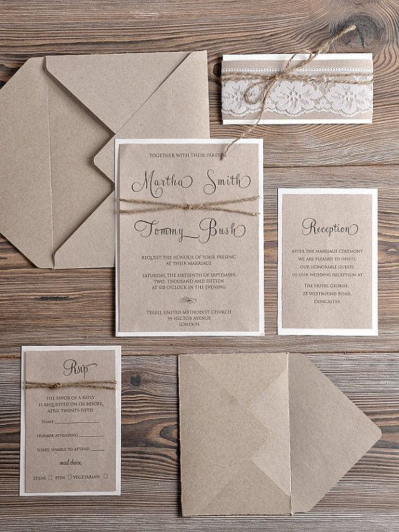 Rustic Wedding Invitations 20 Country Style by forlovepolkadots