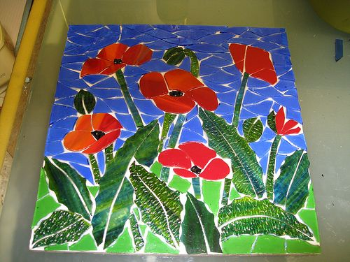 WIP Poppies small | stained glass on board. background finis… | Flickr