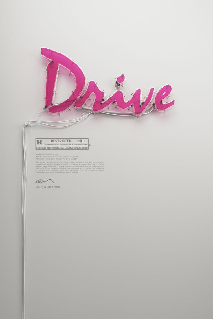 Quote poster design inspiration - Drive Neon Poster By Rizon Parein