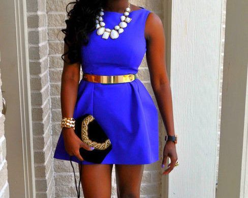 Royal Blue Dress Amp Gold Accessories Outfits Pinterest