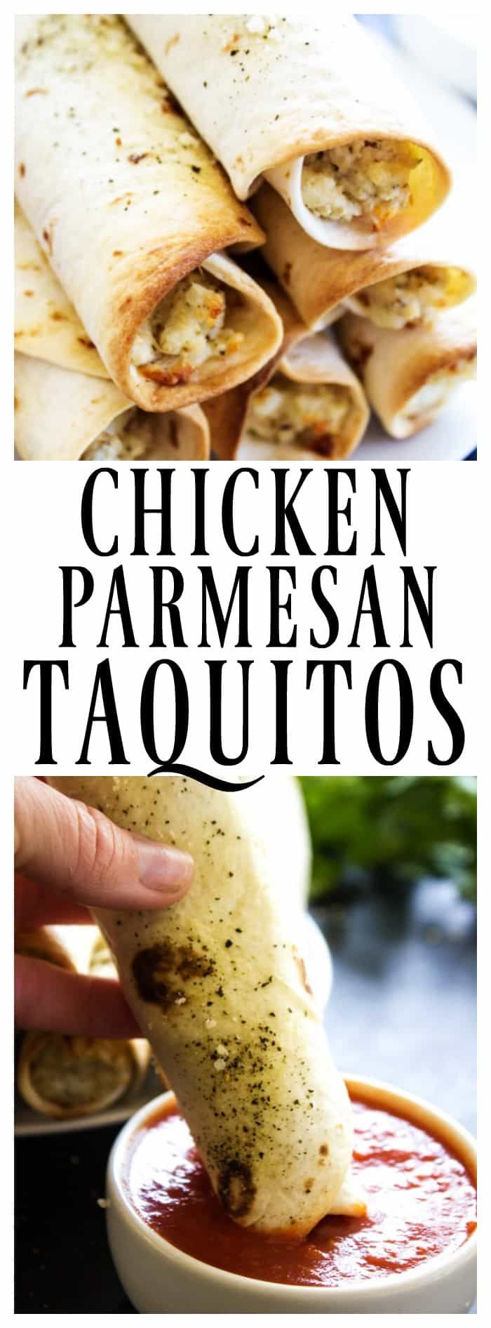 CHICKEN PARMESAN TAQUITOS - A Dash of Sanity #30minutemeal #taquitos #chicken #chickenparmesan #ovenbaked