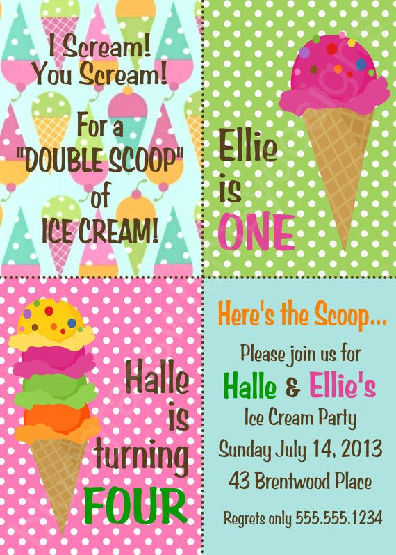 Ice Cream Brother Sister Twins Birthday Party/ by BluegrassWhimsy, $15.00