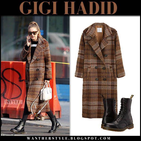 Gigi Hadid In Brown Checked Coat New, Brown Check Winter Coat
