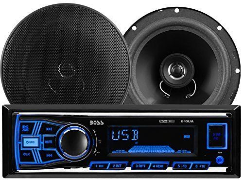 """BOSS AUDIO 636CK Package Includes 610UA Single-DIN AM/FM Mechless Digital Media Receiver Plus One Pair of 6.5 inch 2-Way Speakers. One Pair of CK65 6.5"""" 2-Way Speakers with Poly Cone Woofer and Foam Surround. 250 Watts MAX 180 Watts RMS Power Handling per Pair. 610UA has 50 Watts x 4 Max Power and Preset built-in EQ. Plays USB/SD/MP3, FM/AM, Smart Phones, Mechless, does not have a CD or DVD Player. USB, SD, Aux Inputs and Front & Rear RCA Outputs. Compatible with Audio out from…"""