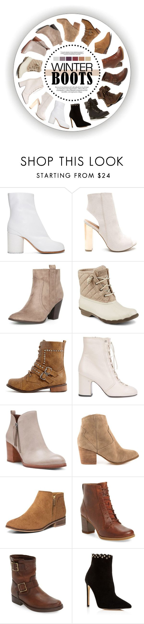 """""""Cozy Winter Boots"""" by singingintherain-788 ❤ liked on Polyvore featuring Maison Margiela, Dorothy Perkins, Sperry, Laurence Dacade, Donald J Pliner, ALDO, Timberland, Frye, Raye and contestentry"""